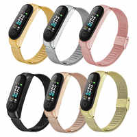 Metal Wrist Band Straps for Xiaomi Mi Band 4 Stainless Steel Bracelet Wristband Strap Adjustable Smart Watch Strap Replacement
