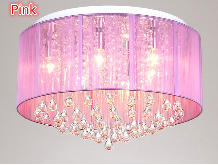 Aliexpress New Shade Crystal Ceiling Chandelier Pendant Light Fixture Lighting Lamp Led Bulbs 220v 110v Pink Yellow Black Silver For Home From