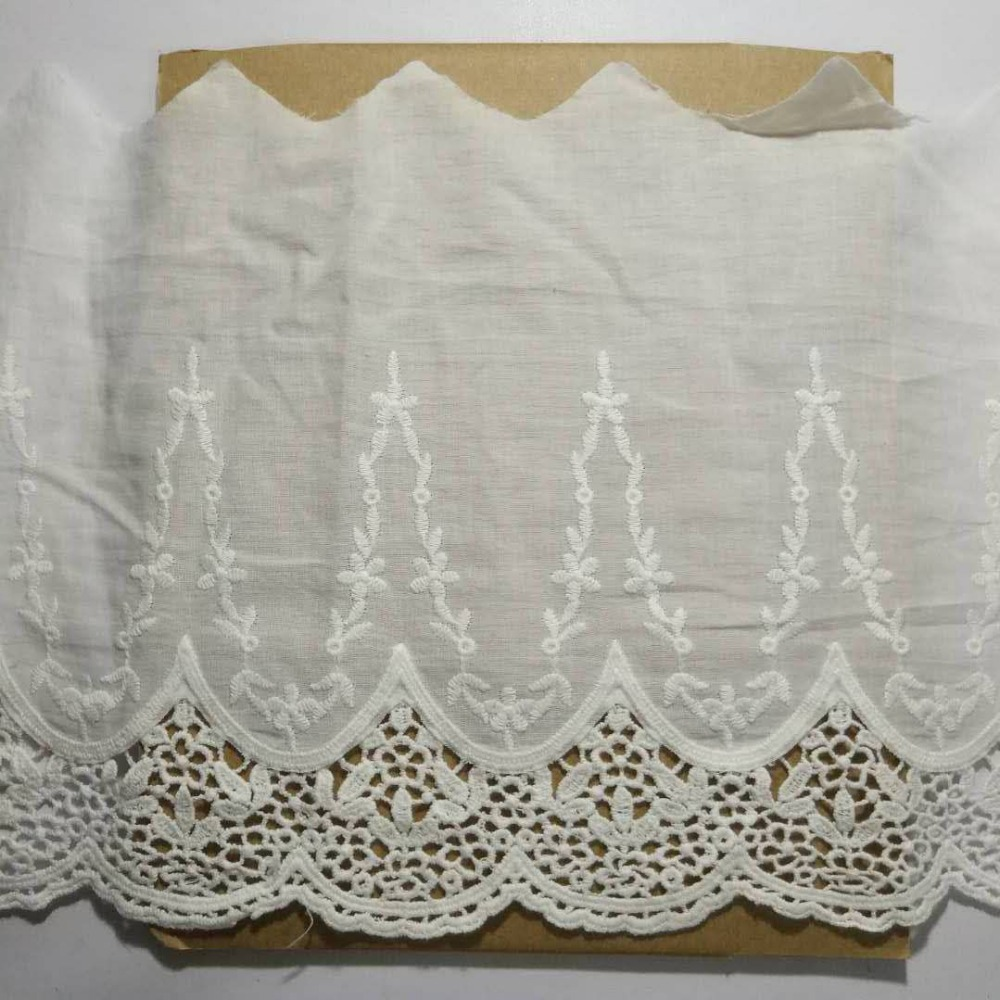 Embroidered lace Cotton fabric Embroidery cotton Lace White color 20cm wide Sewing for Skirt 1yard