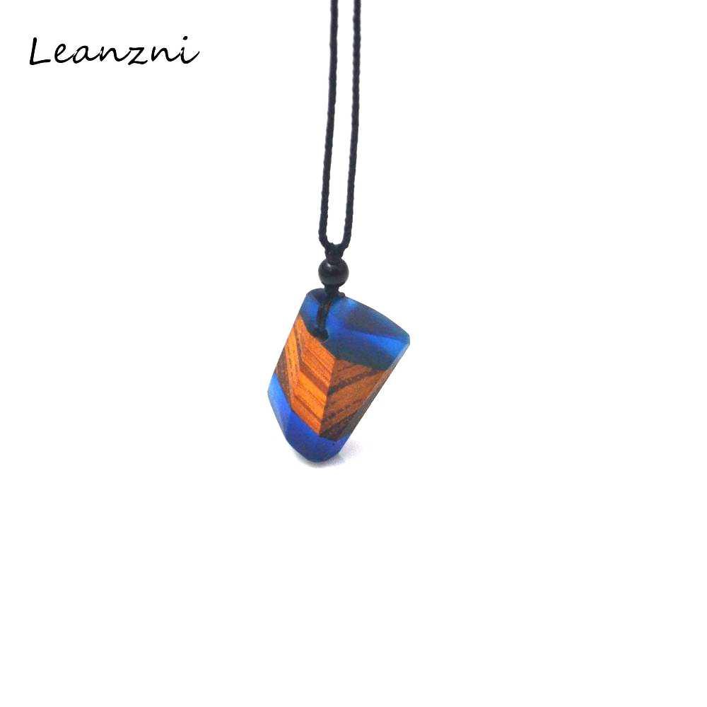 Leanzni 불규칙한 나무 수지 목걸이 펜던트, 유행 빈티지 곡물, 남성과 여성 보석, 선물