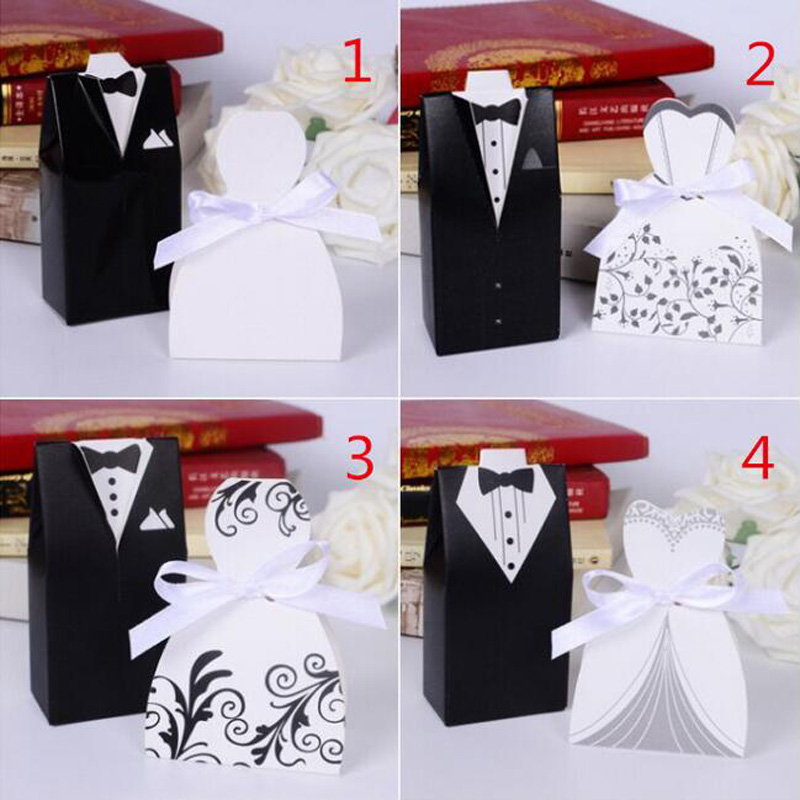 HOMEBEGIN 50pcs Bride And Groom Wedding Favor And Gifts Bag Candy Box With Ribbon Wedding Souvenirs Wedding Decoration Supplies