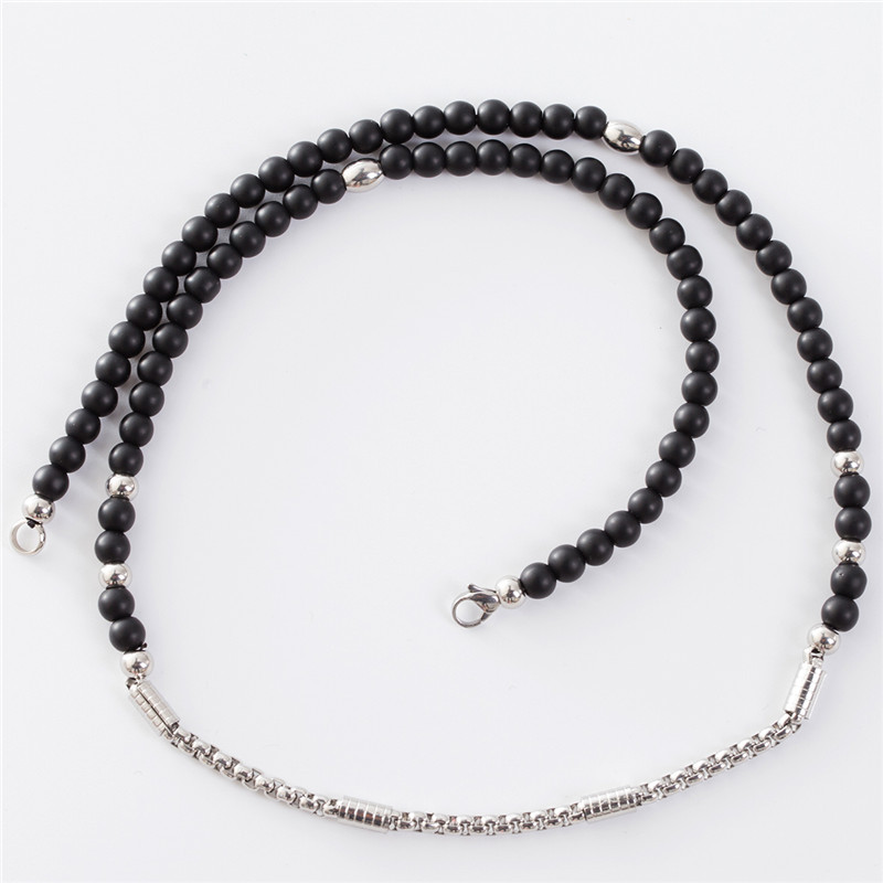 Stainless Steel 6mm Black Glass Beads Chain Necklace DIY Necklace Jewelry Accessories 65cm Wholesale