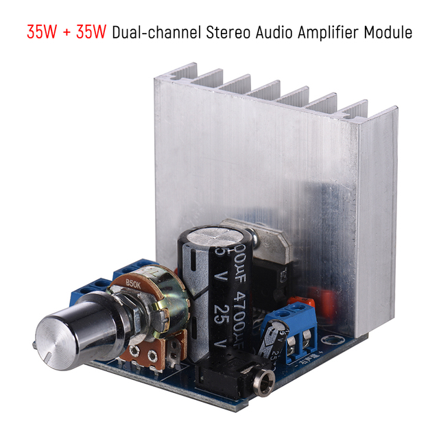 35W + 35W Audio Amplifier Module Stereo2.0 15W + 15W Dual-channel Amplifier Mini Amp Board Amplify DIY Circuit Board w/ Heatsink 5