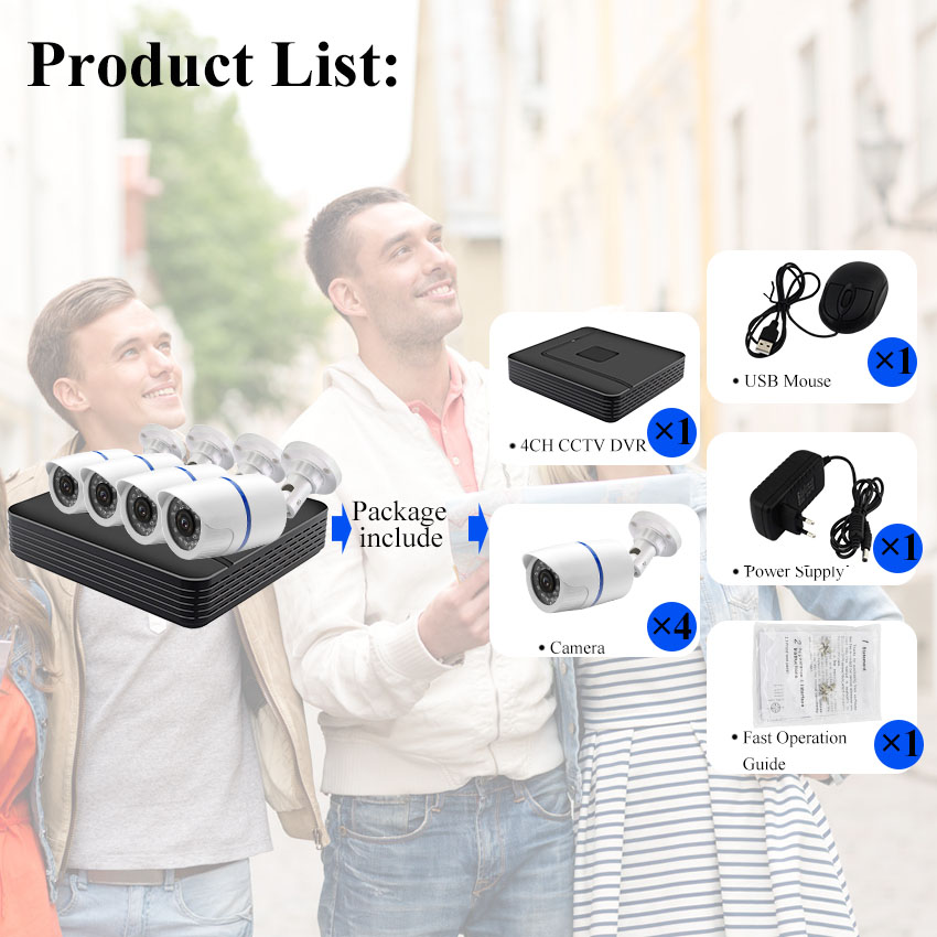 CCTV Camera System 4CH 720P 1080P AHD security Camera DVR Kit CCTV waterproof Outdoor home Video Surveillance System HDD in Surveillance System from Security Protection