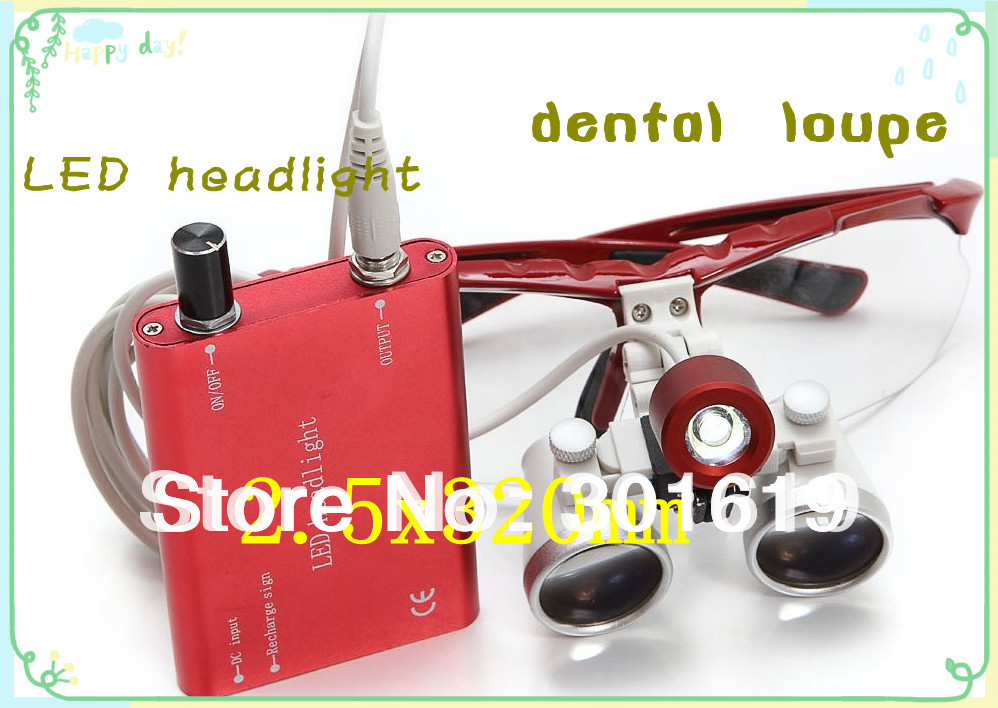 Popular New 2.5X320 Red Dentist Dental Surgical  Binocular Loupes Optical with Portable LED Head Light Lamp CE/ISO certification купить