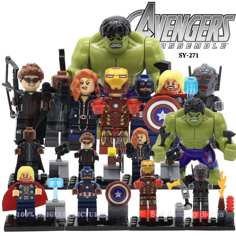 SY271 Marvel The Avengers 2 Super Heroes Action Figures Hulk Iran Man Captain America Civil War Building Blocks Bricks Toys captain america civil war iron man 618 q version 10cm nendoroid pvc action figures model collectible toys