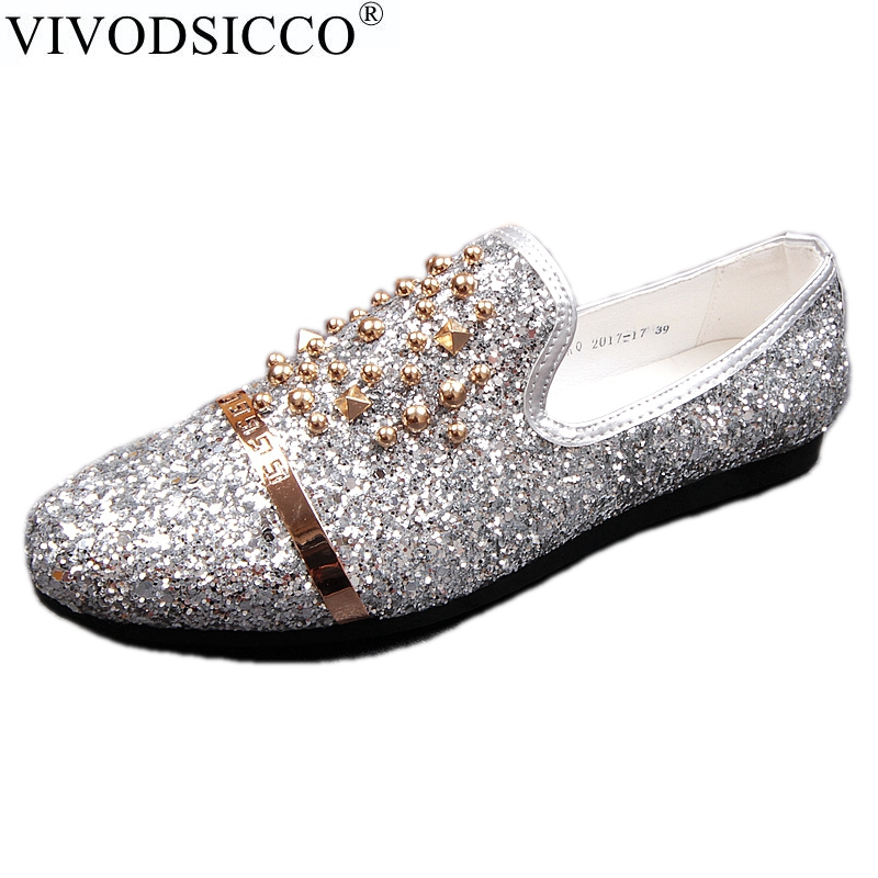 VIVODSICCO New Men's Wedding Party Shoes Fashion Spikes Men Loafers Sequins Rivets Casual Dress Shoes Men Flats Smoking Slippers