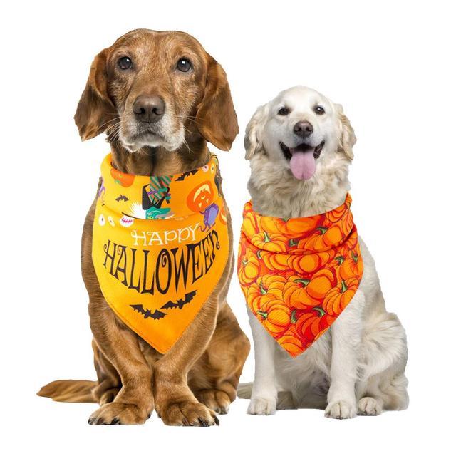 5PCS/Set Halloween Dog Triangular Bandage Pet Saliva Towel Dog Scarf Skull Pumpkin Print Bandanas for Halloween Party Decor 20E 3