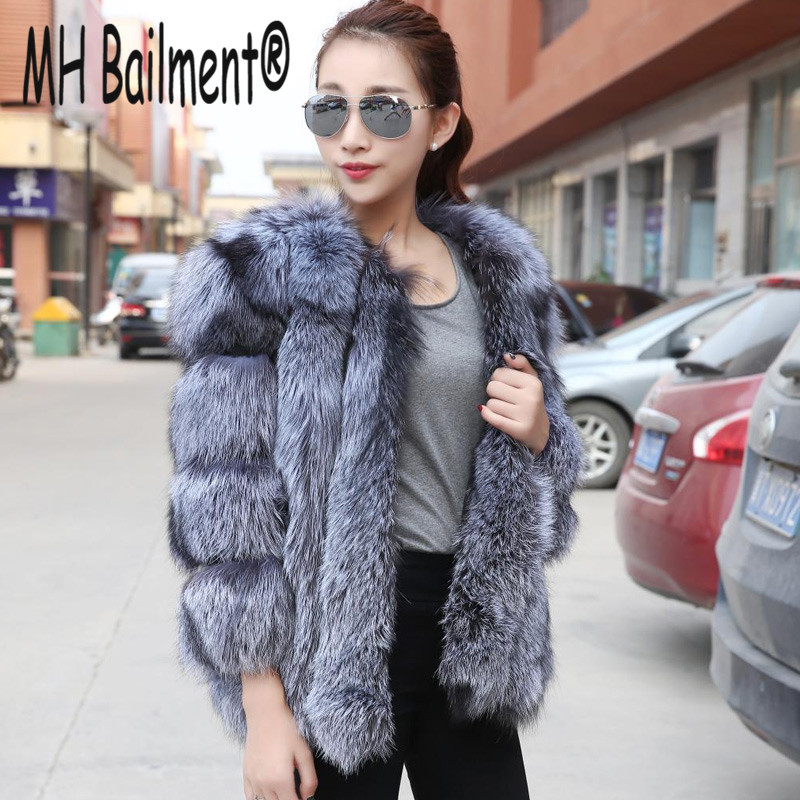 Women Real fox coat Fashion Luxury Genuine Fox Fur Coats Female Winter Warm Thick Natural Fur Jacket Real Silver Fox Fur Clothes