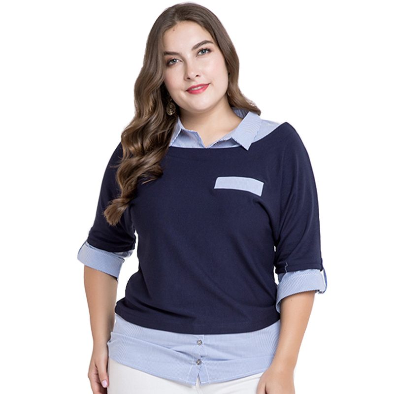 1a7b64598498f Miaoke 2018 plus size womens tops and blouses clothes Fashion Five point  sleeve fake two pieces Large size Tops 4xl 5xl 6xl-in Blouses   Shirts from  Women s ...