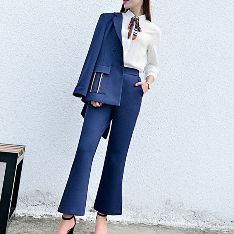 2018 Elegant Women pant suits work wear formal long-sleeve blazer and trousers office ladies Suitpants J17QT2021