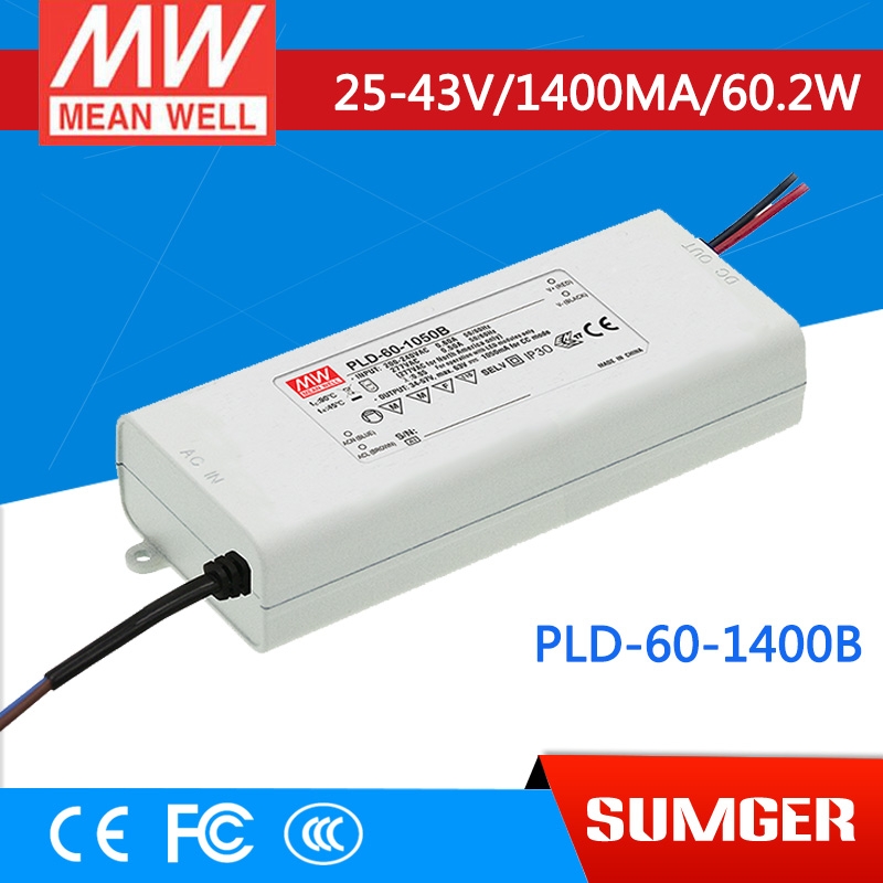 ФОТО [Sumger1] MEAN WELL original PLD-60-1400B 43V 1400mA meanwell PLD-60 43V 60.2W Single Output LED Switching Power Supply