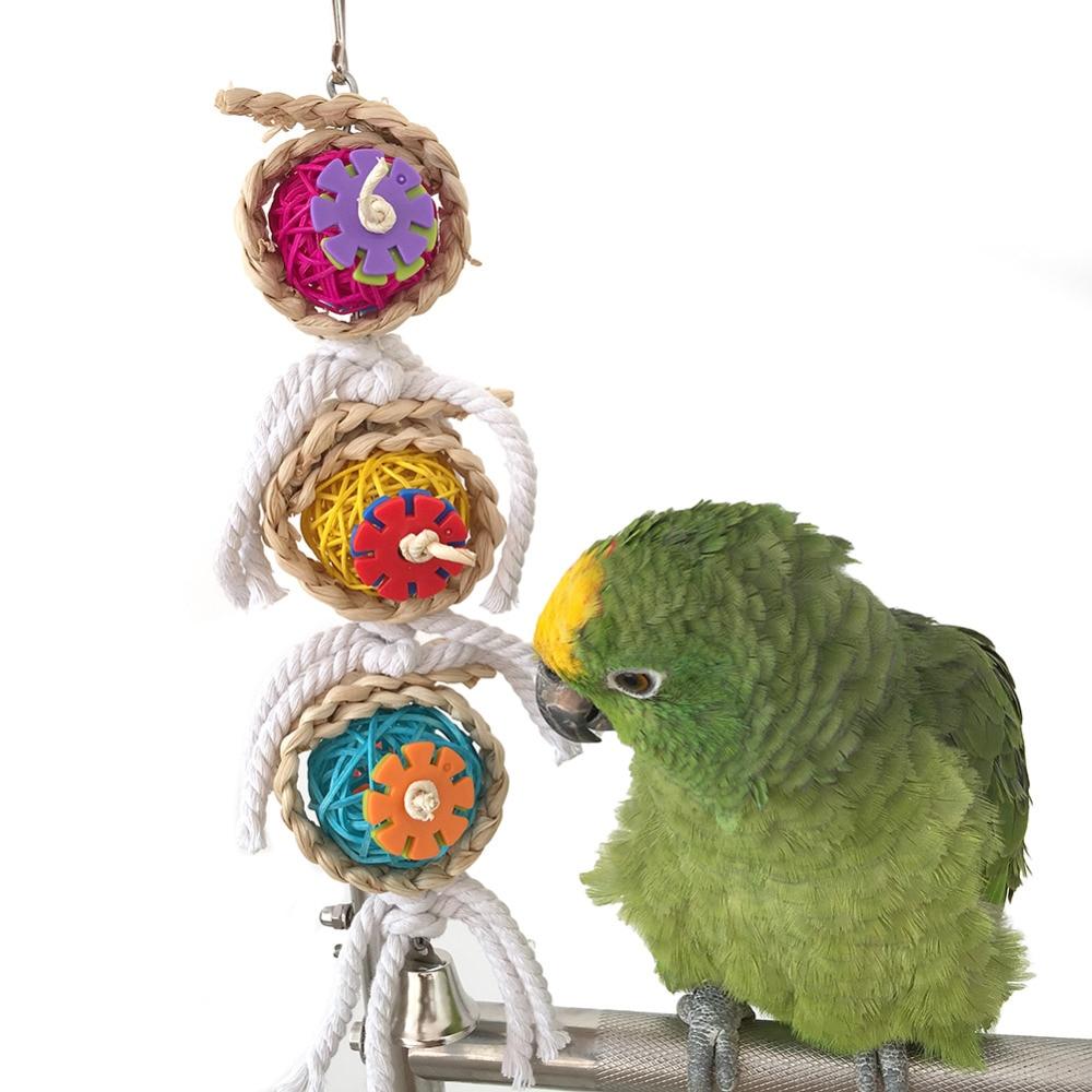 Pet Kuş Papağan Parakeet Topu Pamuk Dize Oyuncak Cockatiel Conure - Evcil Hayvan Ürünleri - Fotoğraf 2