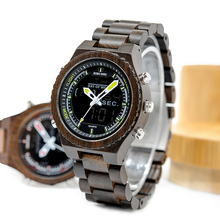 Wooden Dual Time Display Men Watch with Stopwatch