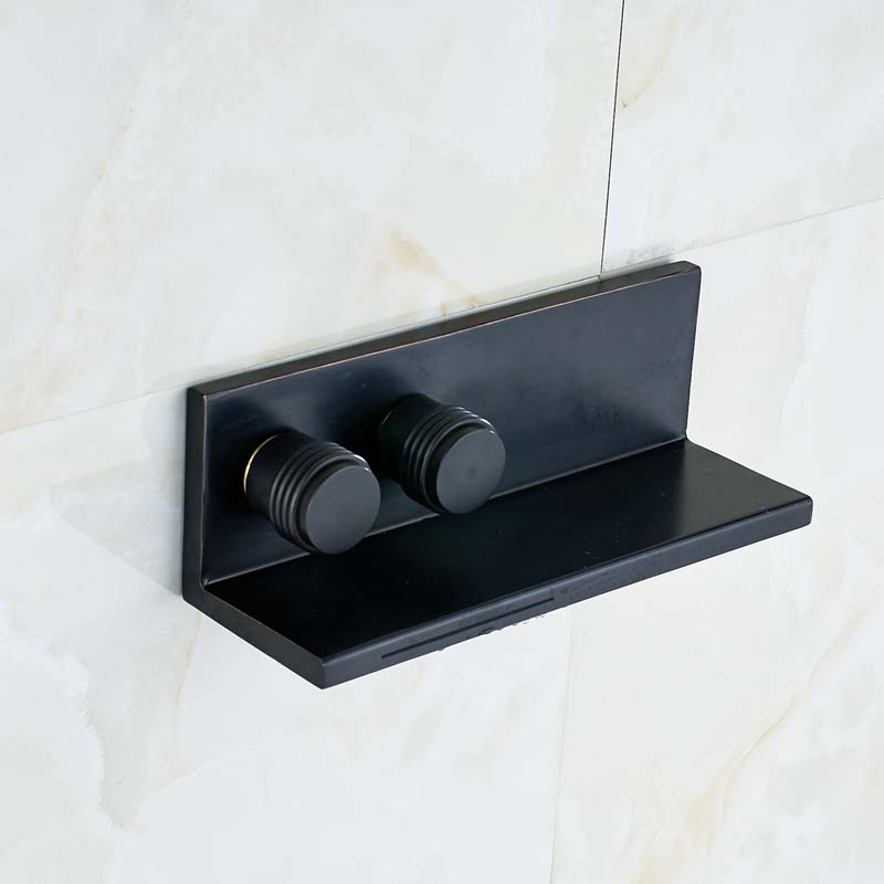 Solid Brass Oil Rubbed Bronze Waterfall Spout Square Bathroom Basin Faucet Dual Handles Wall mounted Sink Mixer Tap пылесос zelmer zvc762zpru с мешком сухая влажная уборка 1500вт серо оранжевый vc7920 5sp