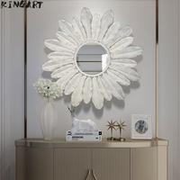 Big Wall Mirror Bathroom Wall Decoration Metal Living Room Wall Mirror Creative Antique Wall Mirror Home Decoration