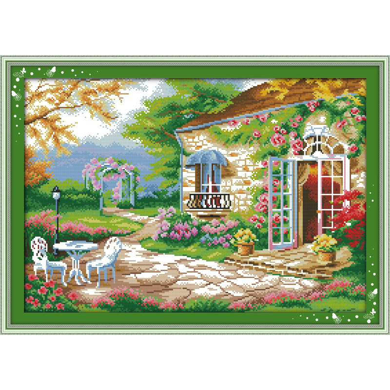 Everlasting love Romantic backyard garden Chinese cross stitch kits Ecological cotton stamped printed DIY Christmas decorations