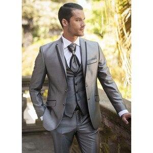 Image 2 - 2020 תפור לפי מידה רסיס חתן השושבינים Mens חליפות טוקסידו לנשף חתונה (מעיל + מכנסיים + אפוד) גברים חליפת סט Slim תלבושות Homme