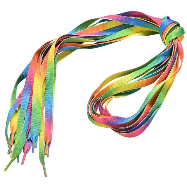 1 pair 110cm Multi-Colors Rainbow Flat Sports Shoe Laces Shoelaces Strings Strap for Sneakers Unisex rainbow shoelace 4