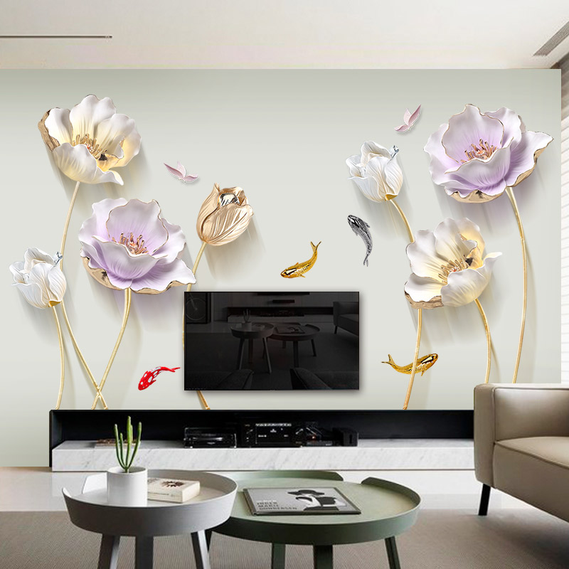 Chinese Style Flower 3d Wallpaper Wall Stickers Living Room Bedroom