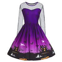 ZAFUL Plus Size Lace Panel Halloween Pumpkin Castle Print Vintage Dress Women Rockabilly Haunted Party Dresses