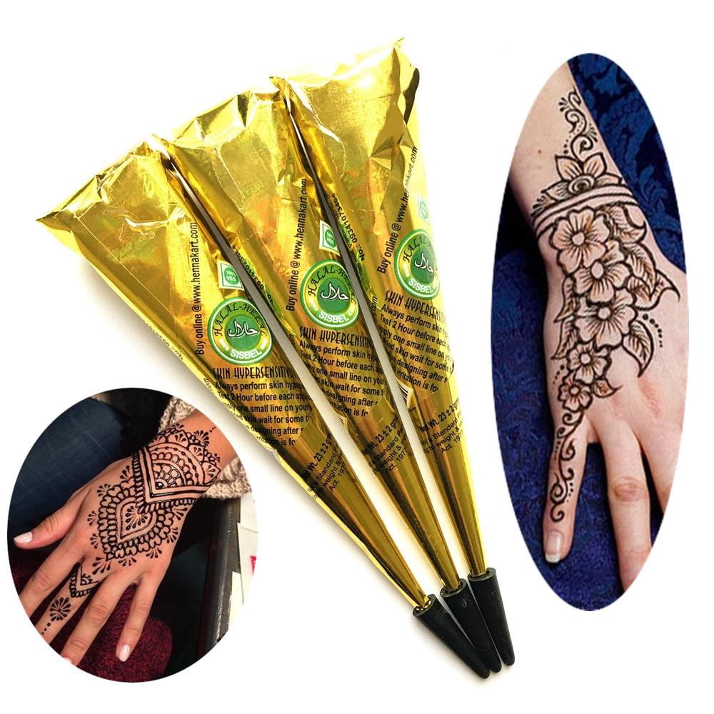 Black Henna Tattoo Paste: 3PC/LOT Women Makeup Sexy Black Henna Tattoo Paste Cones