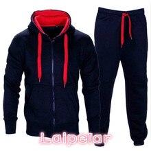 Laipelar Tracksuit Men 2018 Autumn Sportwear Fashion Mens Set 2PC Zipper Hooded Sweatshirt Jacket+Pant Moleton Masculino Z30