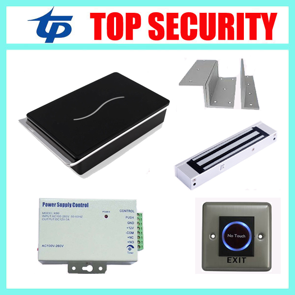 Free shipping Proximity RFID card access control system with 12V3A power supply , magnetic lock and infrared exit button,bracket