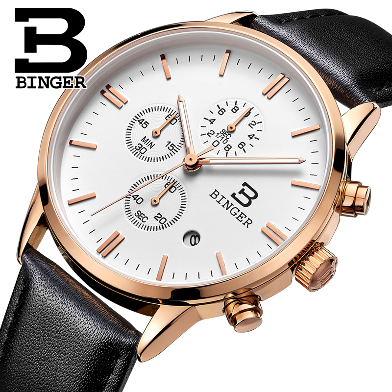 2017 Switzerland relogio masculino BINGER Chronograph Men Watches Sports waterproof Quartz Watch Luxury Brand Watch Men BG9201-6 pen style butane jet torch and lighter with easy adjust switch
