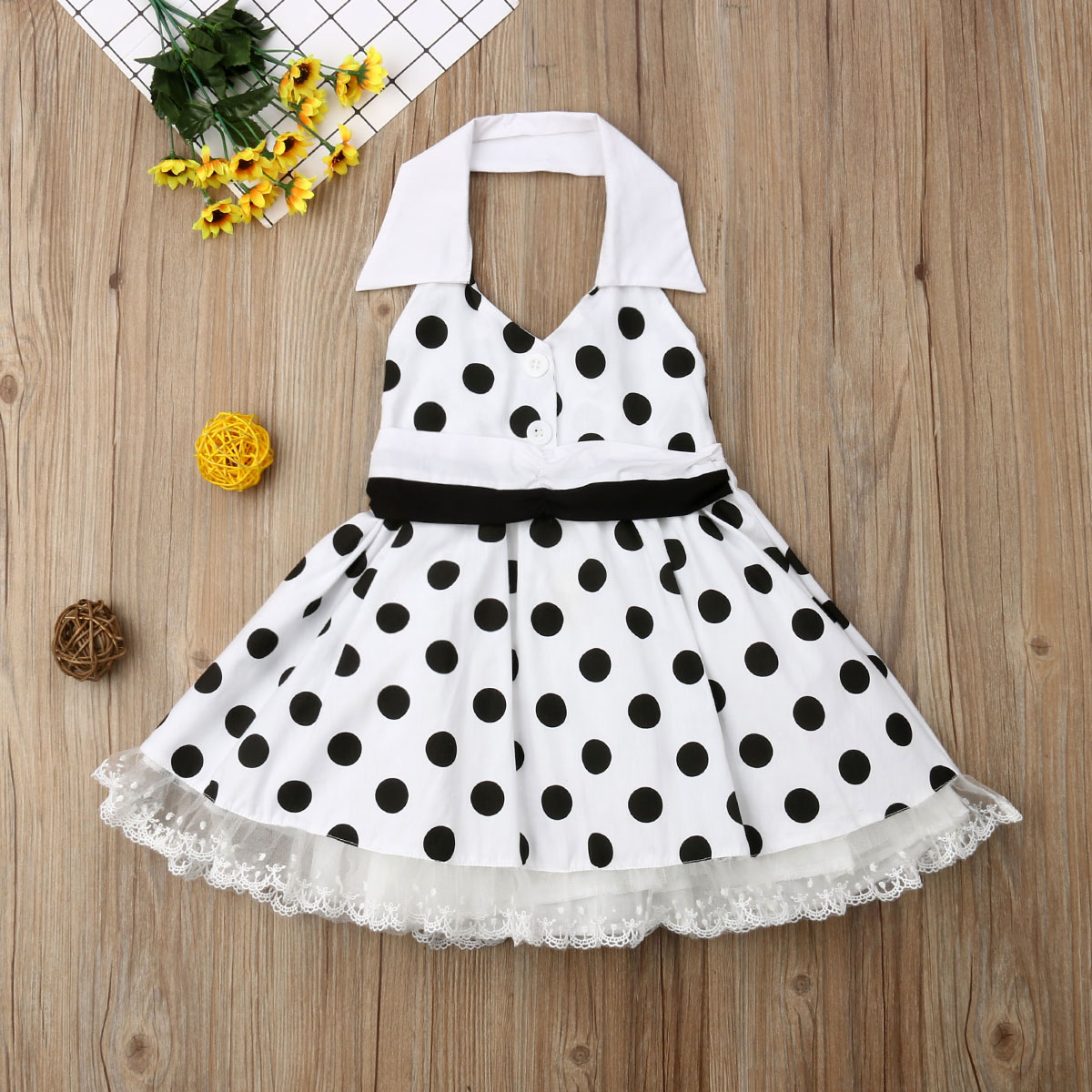 Summer Baby Girls Polka Dot Dress Clothes Halter Ruffle Tutu Princess Dresses US
