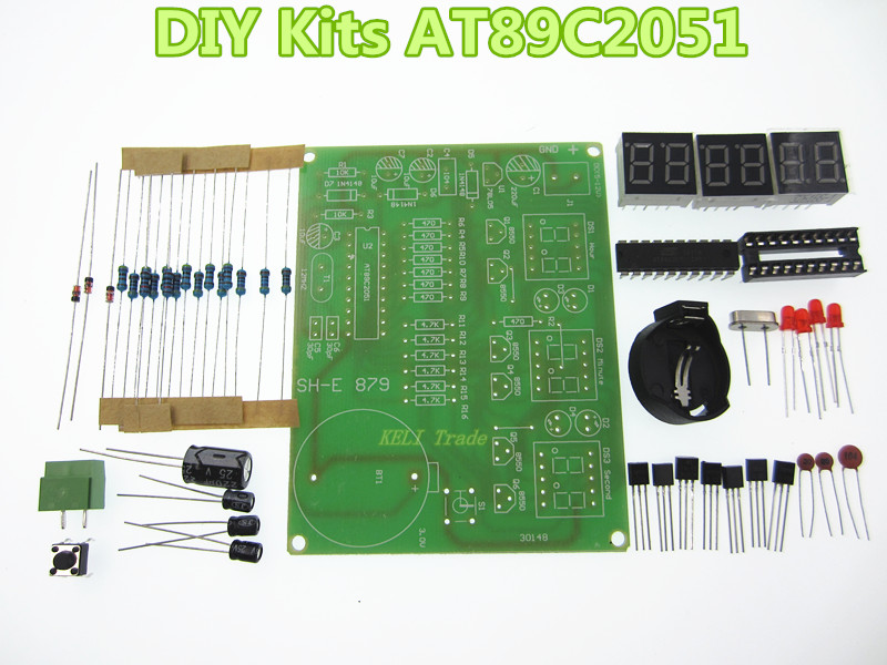 DIY Kits AT89C2051 Electronic Clock Digital Tube LED Display Suite Electronic Module Parts and Components DC 9V - 12V  led tower display rhythm lamp with infrared remote control electronic diy kits soldering kits diy brain training toy