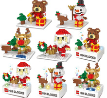 Elk Christmas Bear Christmas snowman old fight inserted blocks small particles of diamond section