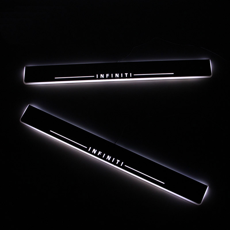 SNCN LED Car Scuff Plate Trim Pedal Door Sill Pathway Moving Welcome Light For Infiniti QX80