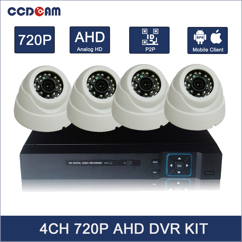 May Promotion! 4CH AHD Camera Kit 1MP CCTV Kit 4 Camera Alarm System Home Security 720P Indoor Plastic Camera