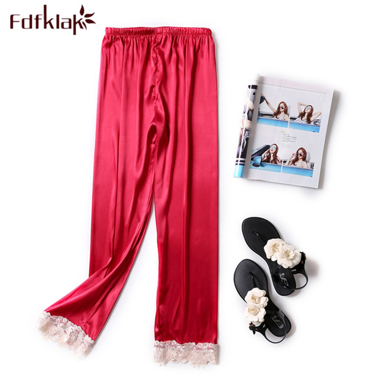 Fdfklak Casual silk lace pajama pants sleepwear women home pant new large size long sleeping pant pijama pants ladies trousers