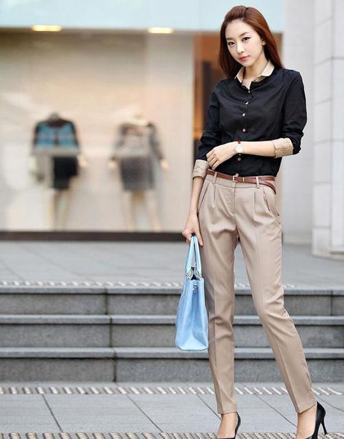 Mujer sólido más tamaño otoño pantalones khaki mujeres harem flojo ocasional femenino de gran tamaño delgado capris cremallera fly harem