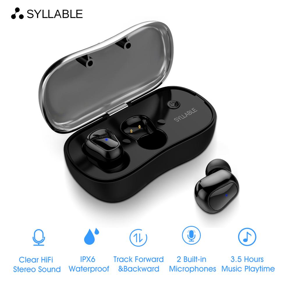 2019 New SYLLABLE D900P Bluetooth V5.0 TWS Earphone True Wireless Stereo Earbud Waterproof SYLLABLE Bluetooth Headset for Phone rockspace eb30