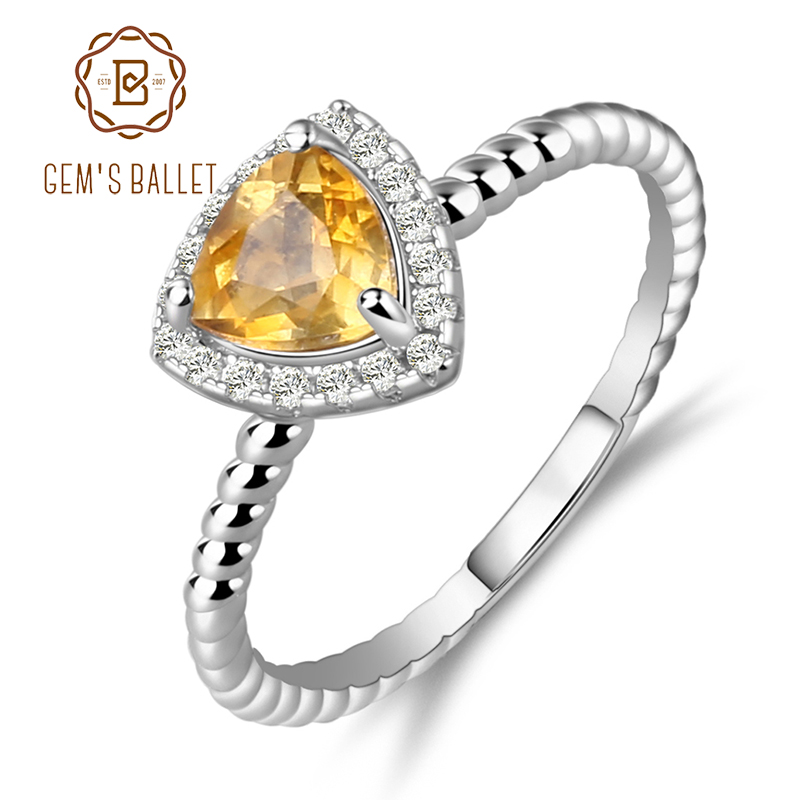 GEM'S BALLET 0.74Ct Natural Yellow Citrine Gemstone Wedding Rings Solid 925 Sterling Silver Ring For Women Fashion Jewelry