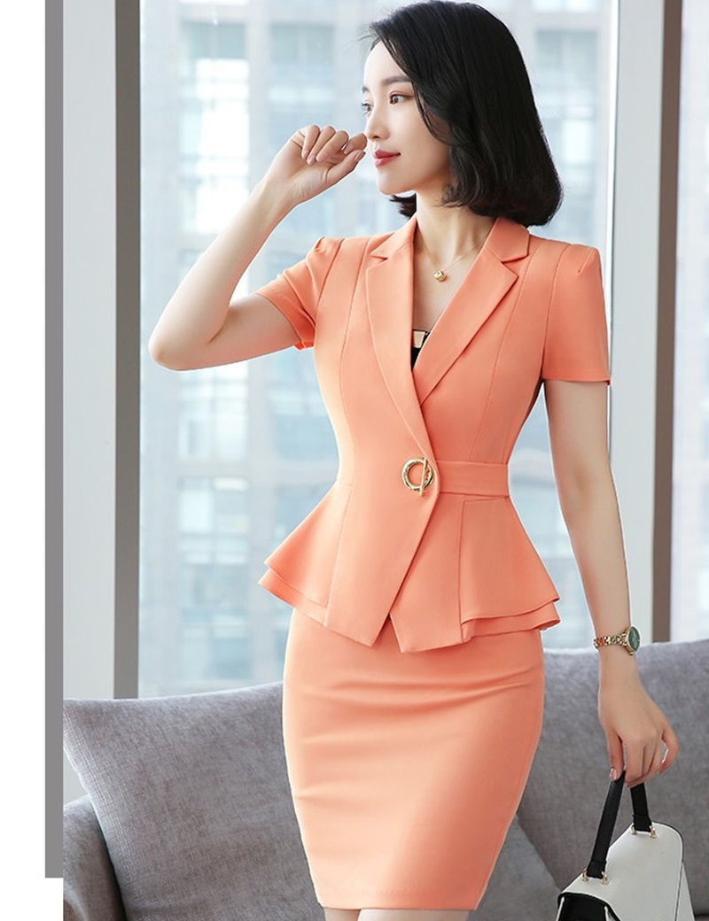 Formal Uniform Styles Blazers Suits Two Piece With Tops And Skirt For Ladies Office Work Wear Professional Summer Blazer Sets