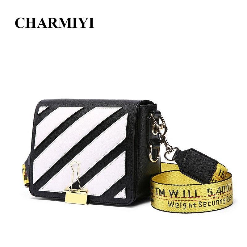 CHARMIYI 2018 Women Shoulder Bags Stripes Pattern Leather Handbag Lady Small Clutch Messenger Bag Crossbody for Girls Wide Strap