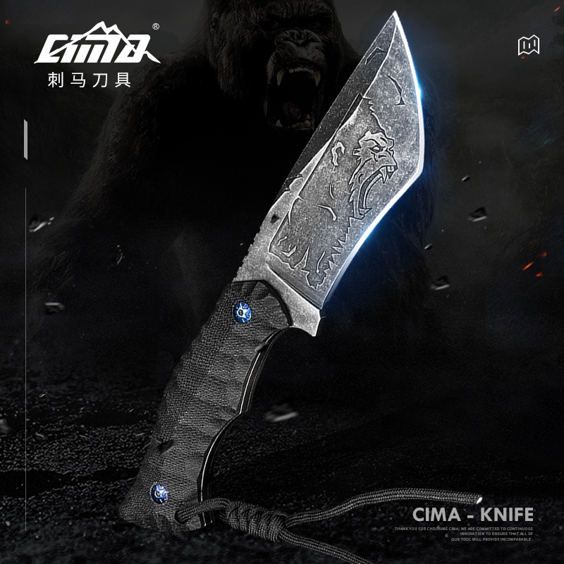 CIMA Stainless Steel Fixed Blade Knife with G10 HandleLeather sheath for Outdoor Tactical Survival and Everyday Carry