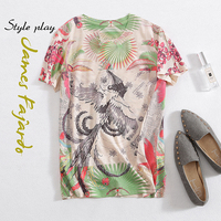 New summer of 2019 printed flamingos show thin cotton T shirt female half sleeve T shirt of design and color coat