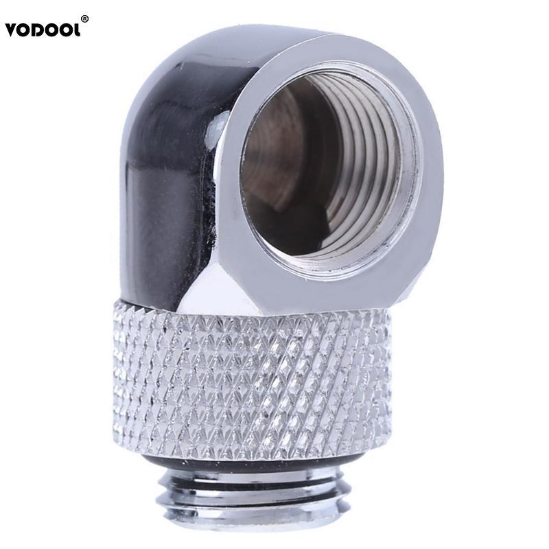 ПК трубка для охлаждения воды адаптер G1/4 внутренняя внешняя Двойная резьба 90 градусов поворотный водяной трубчатый коннектор адаптер черный серебристый 2 цвета - Цвет лезвия: Серебристый