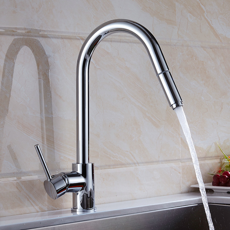 Free Shipping Single Handle Kitchen Faucet Mixer Pull Out Kitchen Tap Single Hole 360 Rotate Copper
