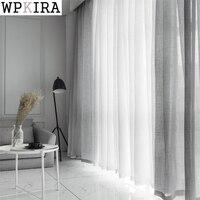 Белые хлопковые шторы из льняного тюля декоративные отель современный модный cortina para janela де кварто современные синие шторы S053 и 30