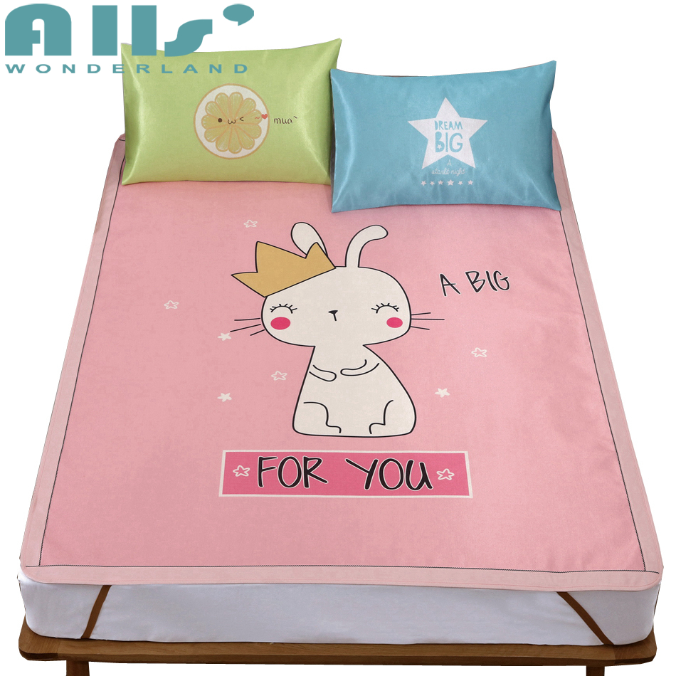 Matress Protector With Cute Cartoon Patterns Pink Bed Cloth Modern Decoration For Bedroom Polyester Cooling Mattress Pad