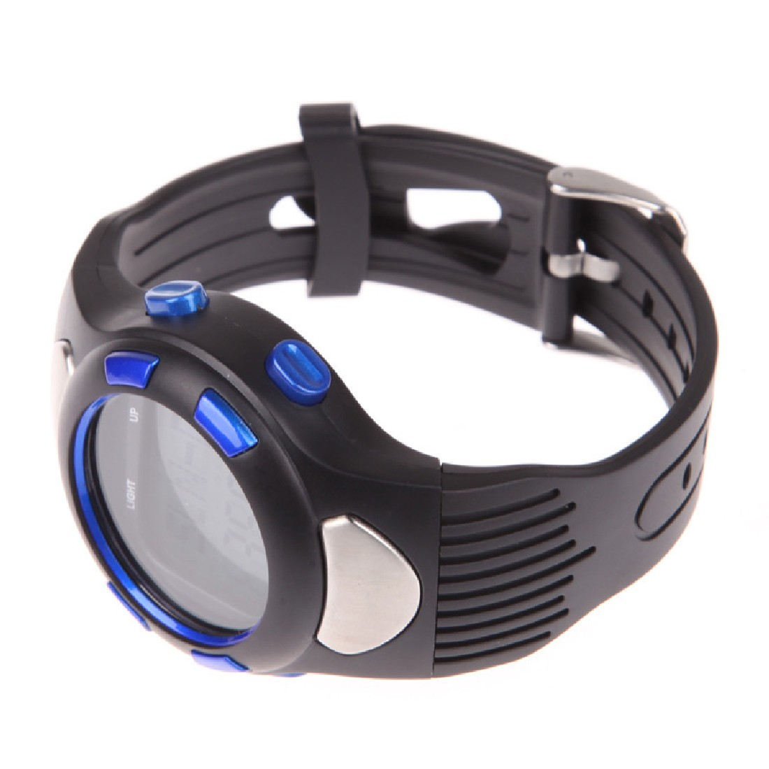 Top Quality 3D Pedometer Heart Rate Monitor Wristwatch For Running Fitness With Backlight Blue