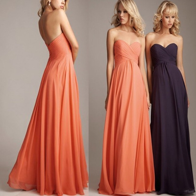Bridesmaid Dress Plus Size Coral Colored Chiffon Wedding Guest Long