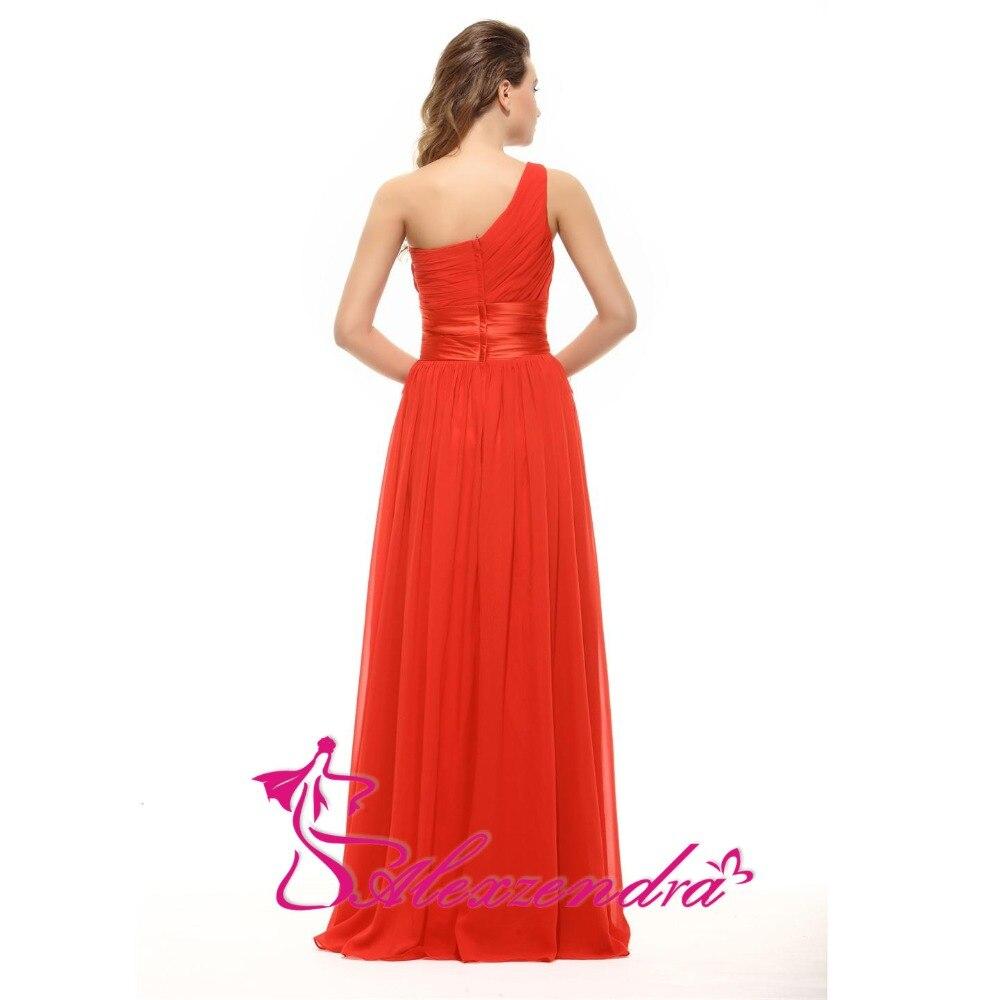 Alexzendra une ligne en mousseline de soie perlée une épaule robe de demoiselle d'honneur pour mariage longue robe de soirée robe de demoiselle d'honneur grande taille - 3