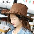 16 Cores Chapéu de Vaqueiro Dos Homens Ms. Dobrável Viagem Chapéu de Palha Cowboy Chapéu Proteção Chapéu de Sol de Verão Anti-UV Rosto Cinto fivela